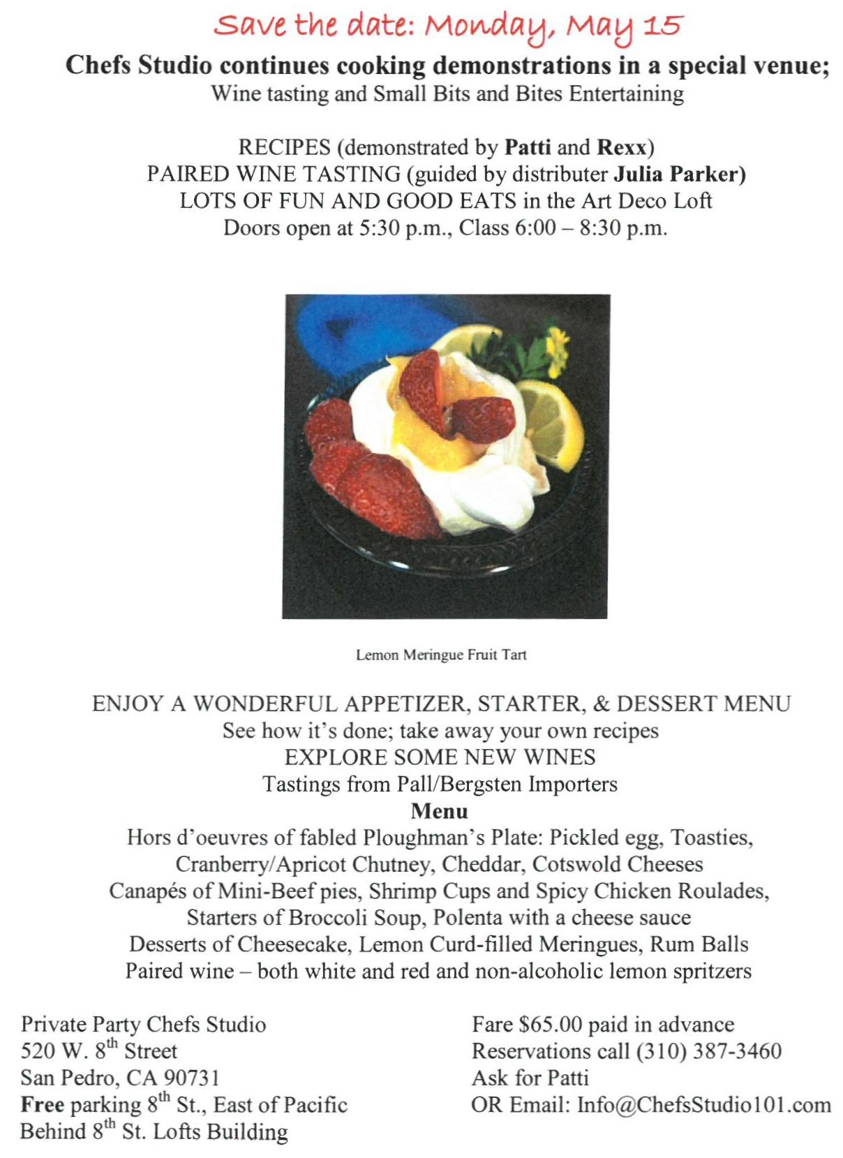 Chef's Studio May 15 flyer