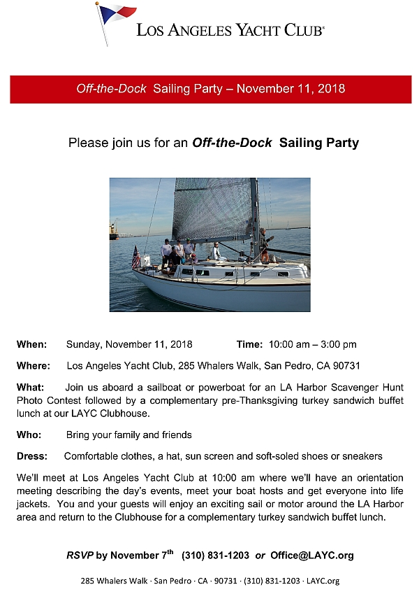 Off the Dock Sailing Party flyer